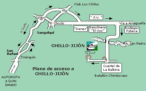 Access map to Hacienda Chillo-Jij�n